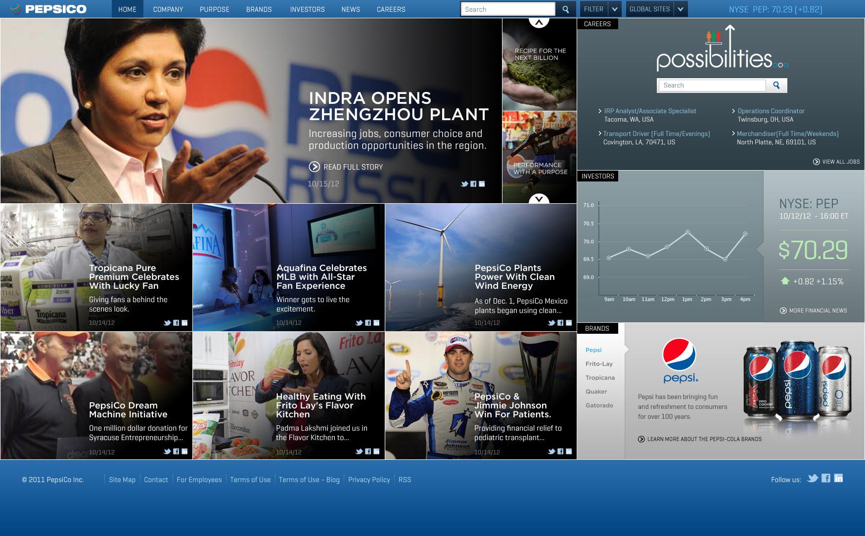 Pepsico Website Landing Page