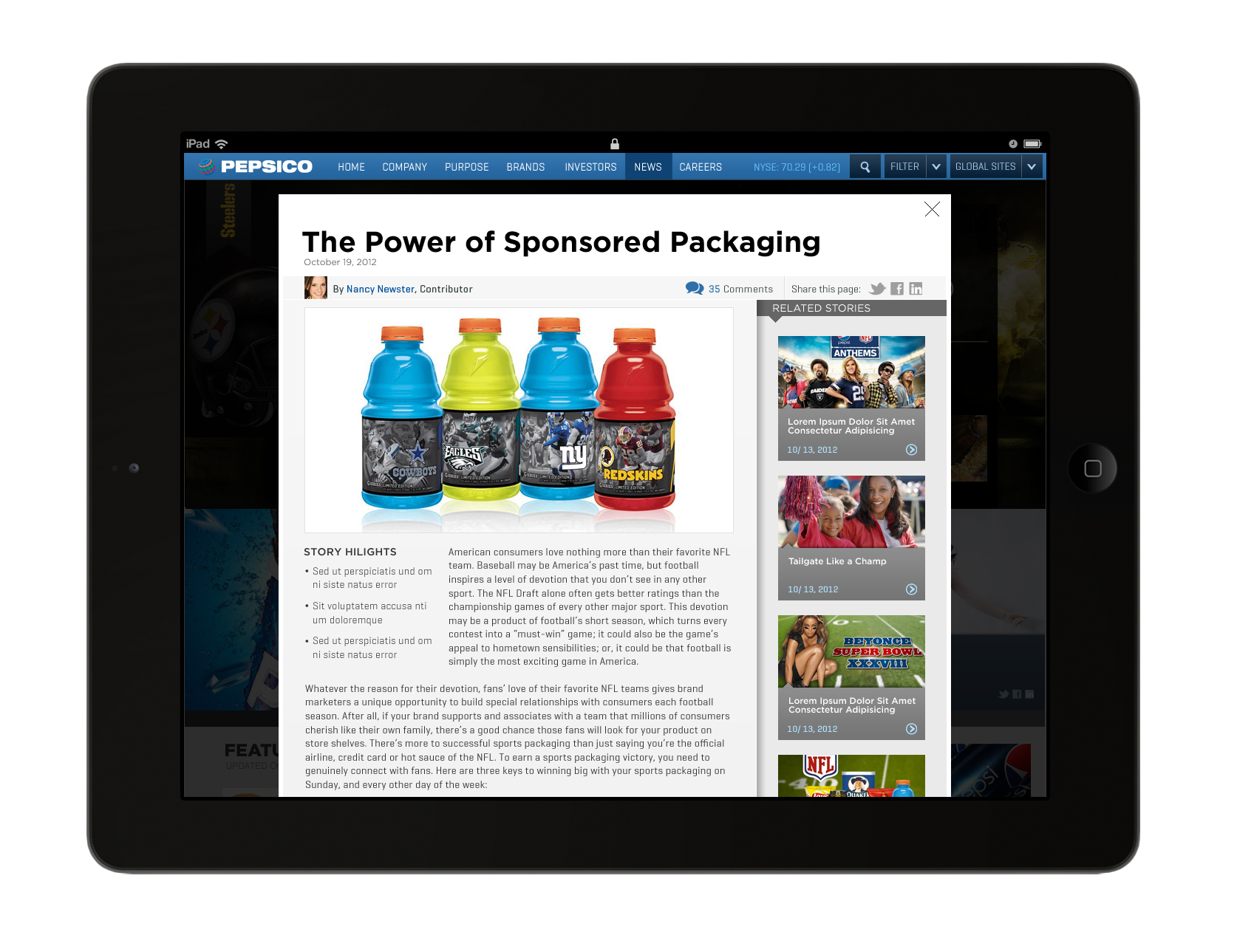 Pepsico Tablet News Detail