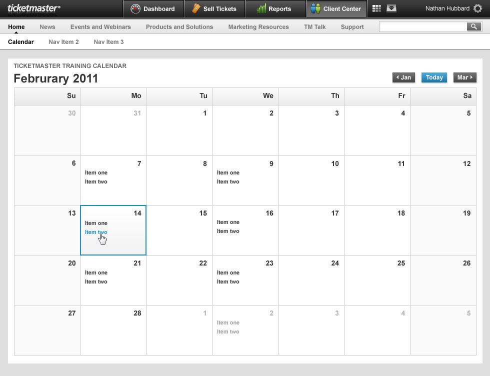 Ticketmaster Client Center 7 - Calendar