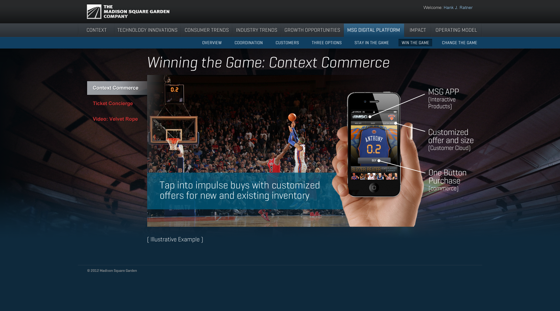 Madison Square Garden: MSG Digital Platform/Win the Game/Context Commerce