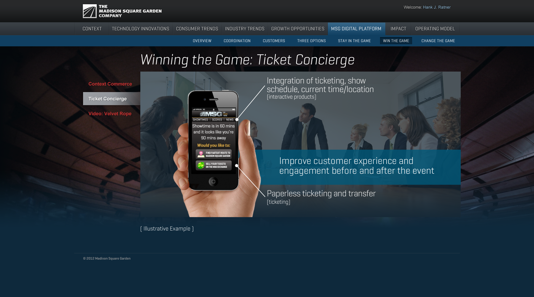 Madison Square Garden: MSG Digital Platform/Win the Game/Ticket Concierge