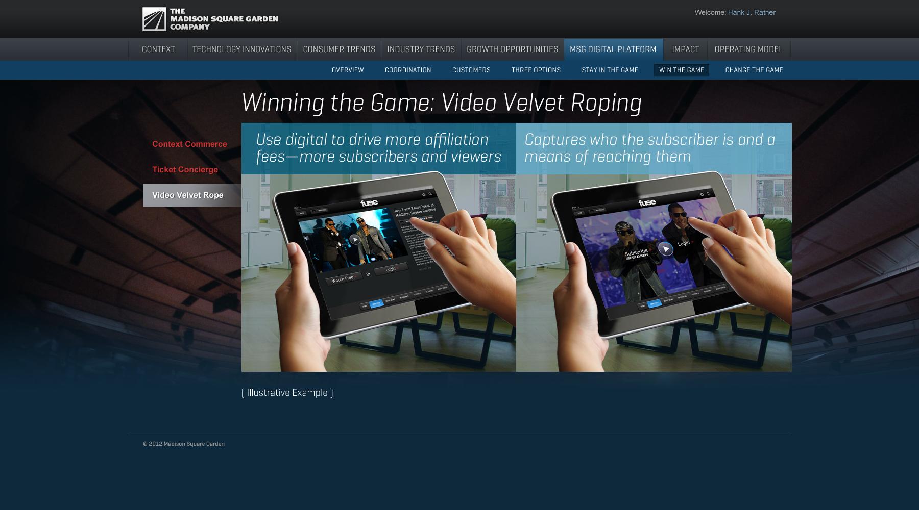 Madison Square Garden: MSG Digital Platform/Win the Game/Video Velvet Rope