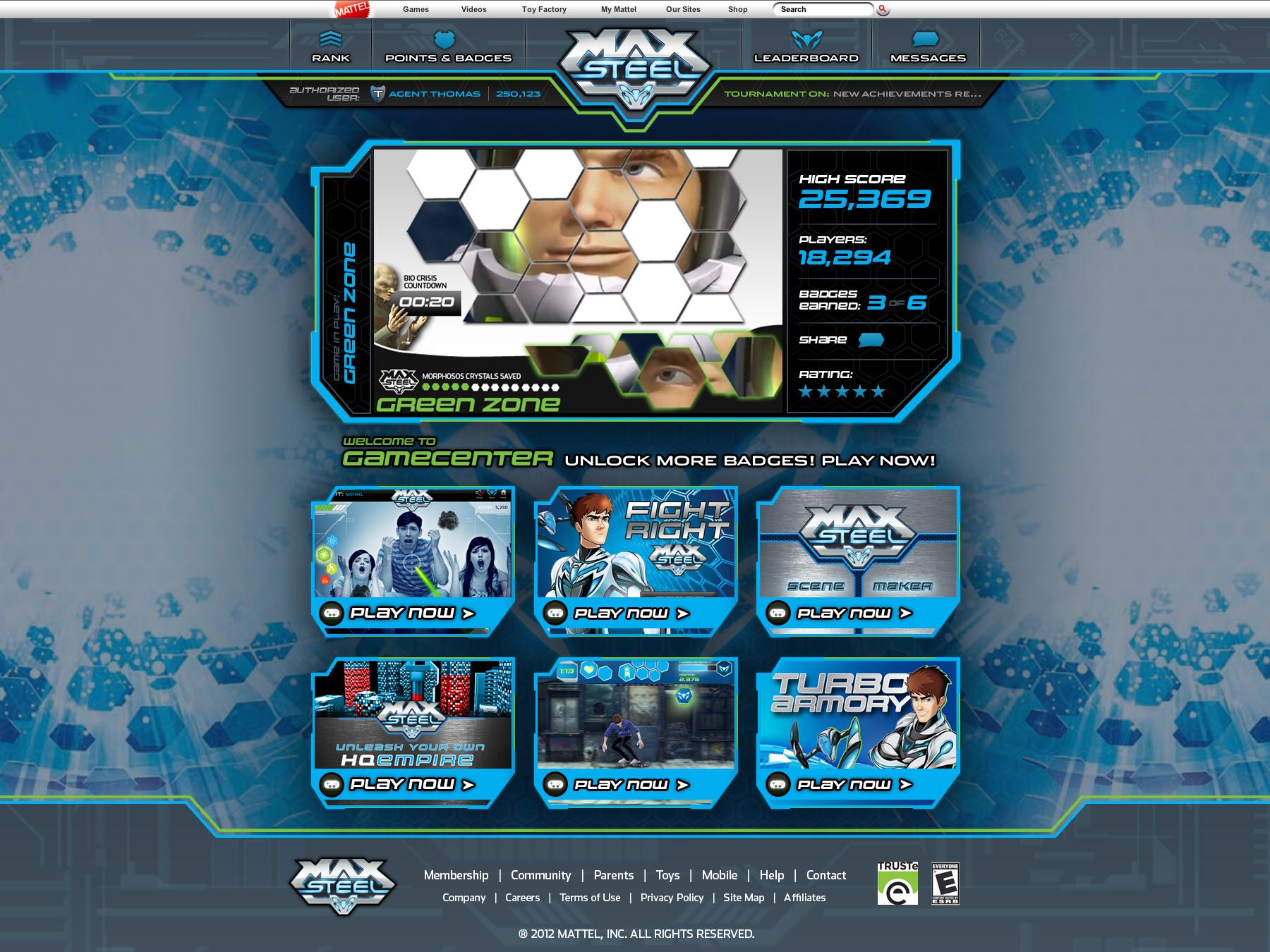 Mattel Max Steel Game Center
