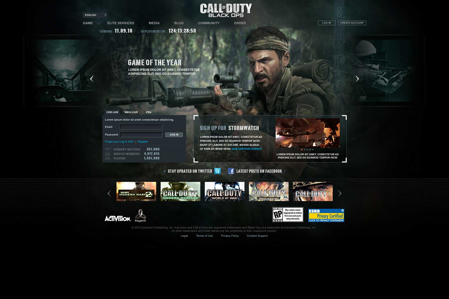 Activision Call of Duty: Blackops Landing Page