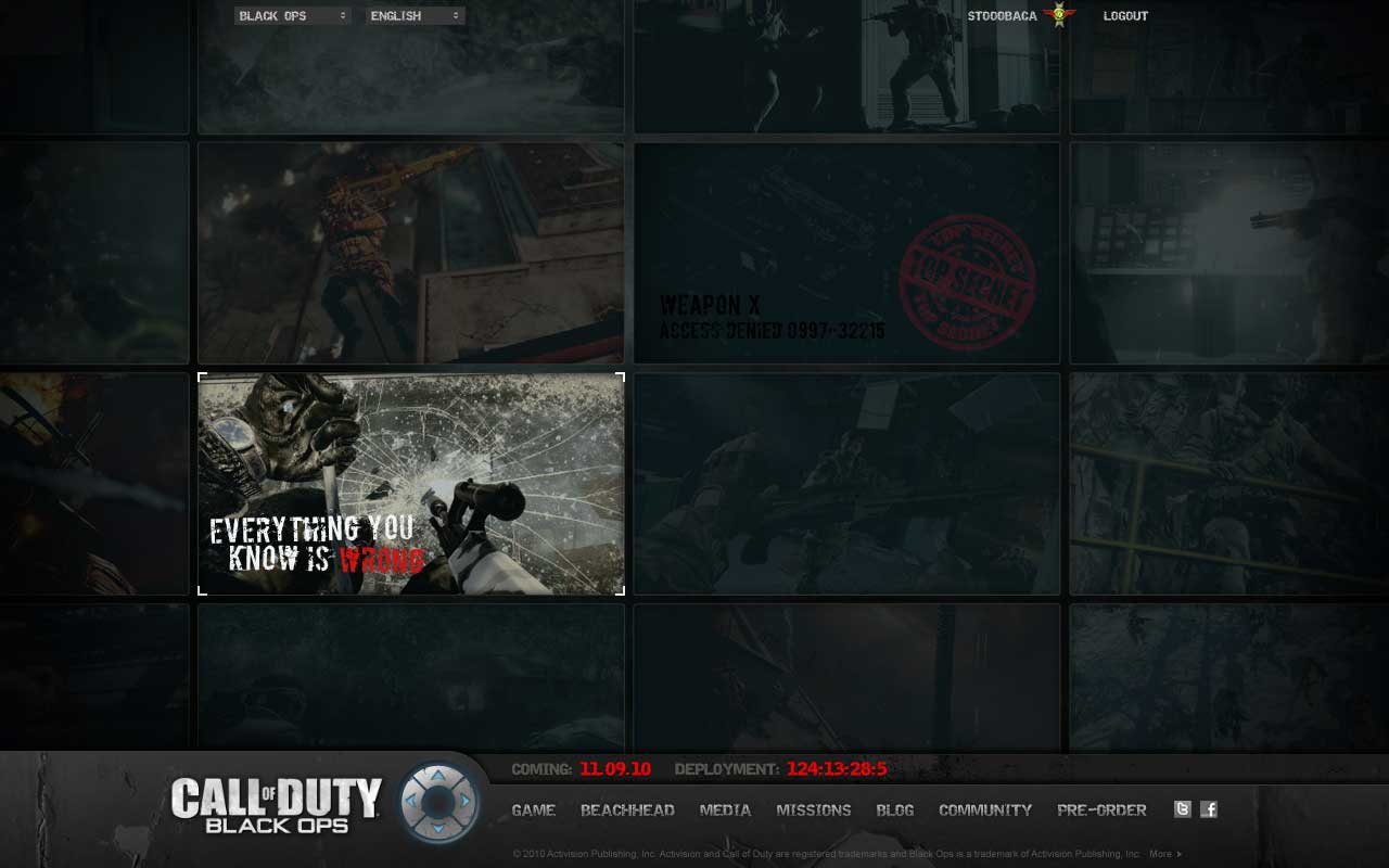 Activision Call of Duty: Blackops Alternate Navigation