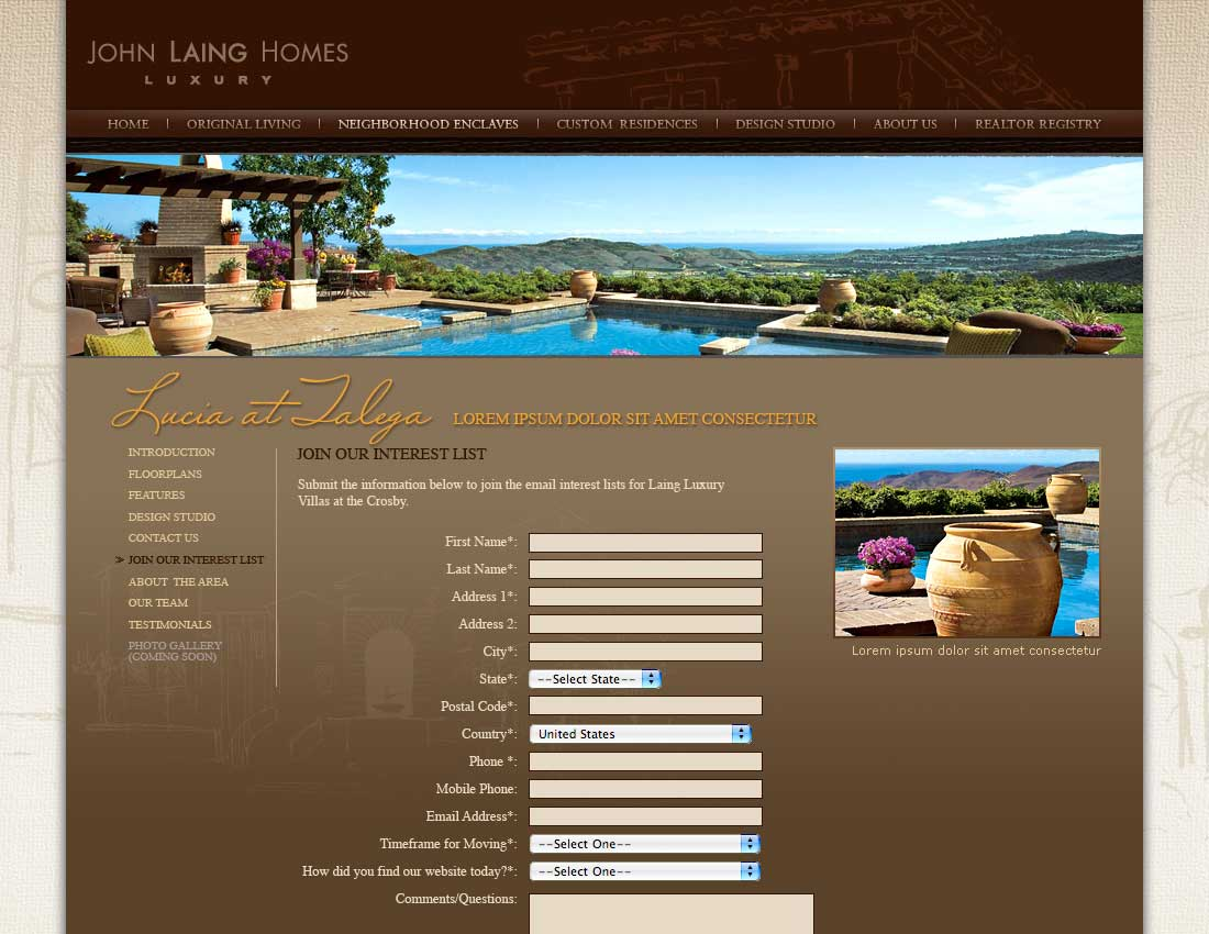 John Laing Homes - Neighborhood Enclaves - Interest List