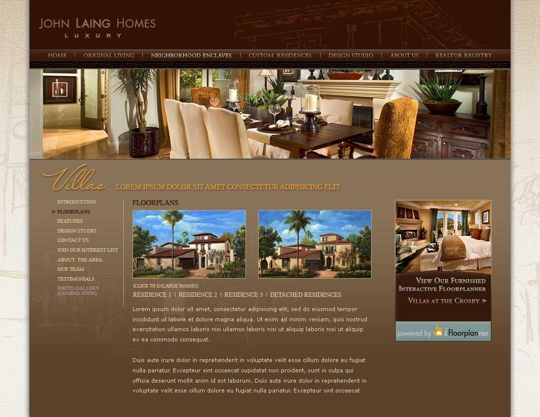 John Laing Homes - Neighborhood Enclaves - Floorplans Villas